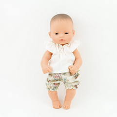 "Ecru Tunic & Floral Doll Bloomers (2 Piece Set): fits 12"" Miniland Dolls"