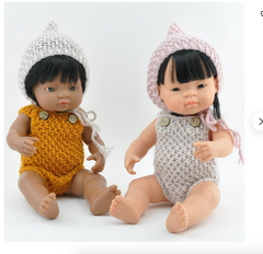 "Pixie Knitted Doll Bonnet: fits 15"" Miniland Dolls"