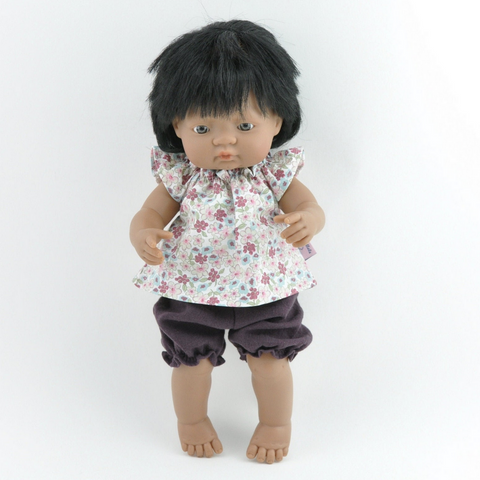 "Floral Doll Tunic & Plum Muslin Bloomers (2 Piece Set): fits 15"" Miniland Dolls"
