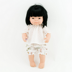 "White Tunic and Floral Doll Bloomers: fits 15"" Miniland Dolls 2 Piece Set"