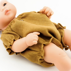 "Linen Romper & Turban (2 Piece Set): fits 12"" Miniland Dolls"