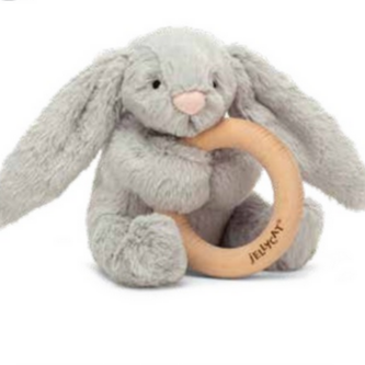 Jellycat Bashful Gray Bunny Wooden Ring Teether Toy