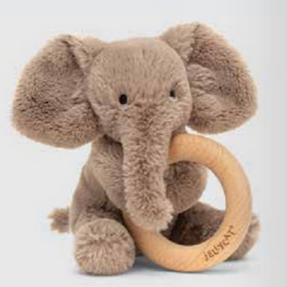 Jellycat Smudge Elephant Wooden Ring Teether Toy
