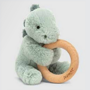 Jellycat Puffles Dino Wooden Ring Teether Toy