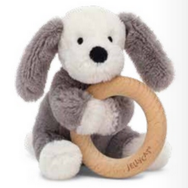 Jellycat Smudge Puppy Wooden Ring Teether Toy