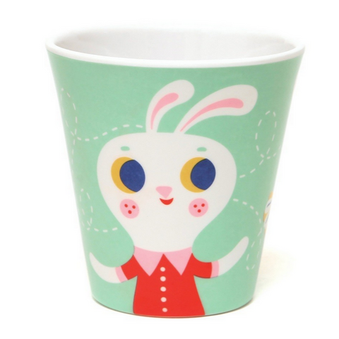 Mint Fox & Rabbit Melamine Cup -Helen Dardik