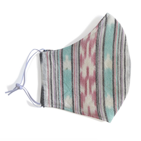 Mint & Pink Ikat Fabric Face Mask - adult (one size)