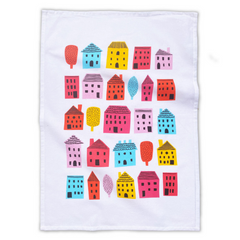 Little Houses Tea Towel