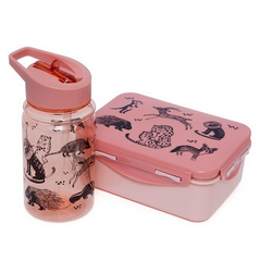 Drinking Bottle Pink with Black Animals