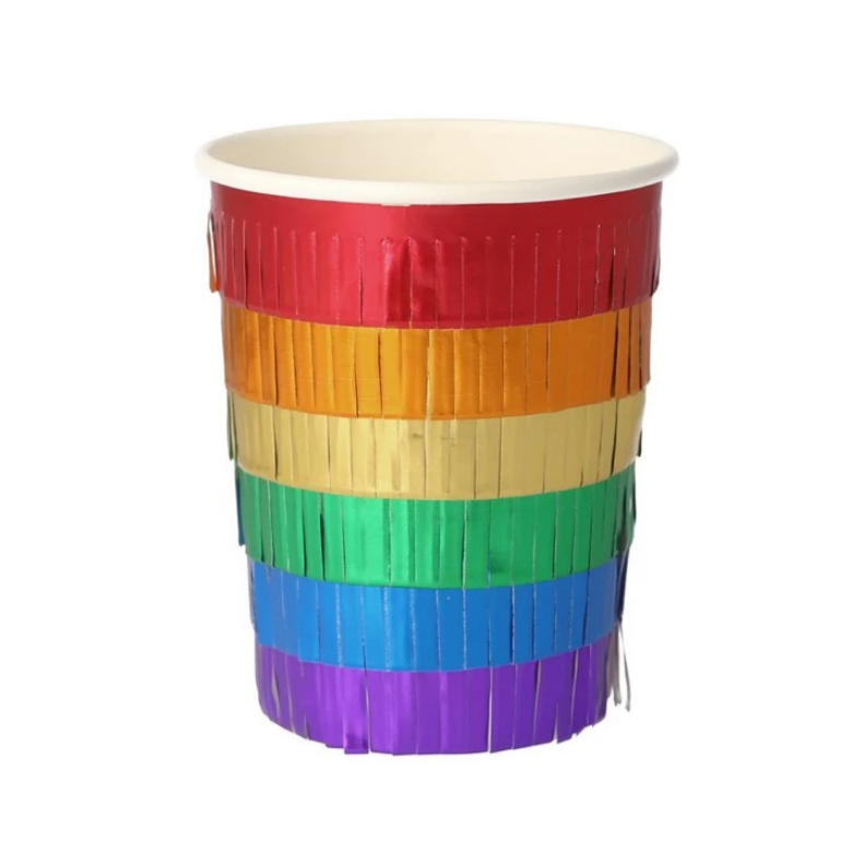 Rainbow Fringe Party Cups (pk8)