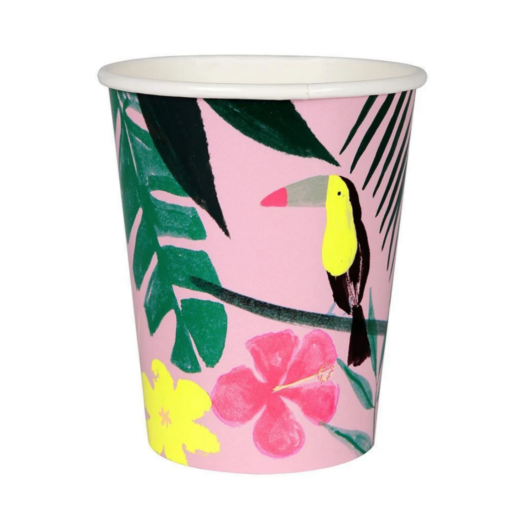 Pink Tropical Toucan Cups (pk12)