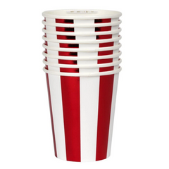 Shiny Red Stripe Cups (pk8)