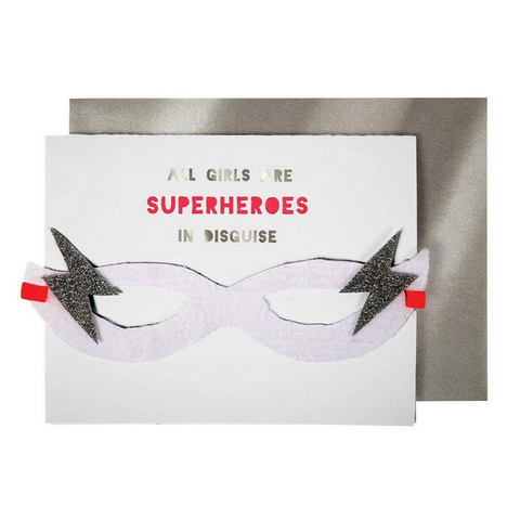 Girl Superhero Mask Card -Birthday