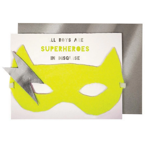 All Boys Are Superheroes Mask Card -Birthday