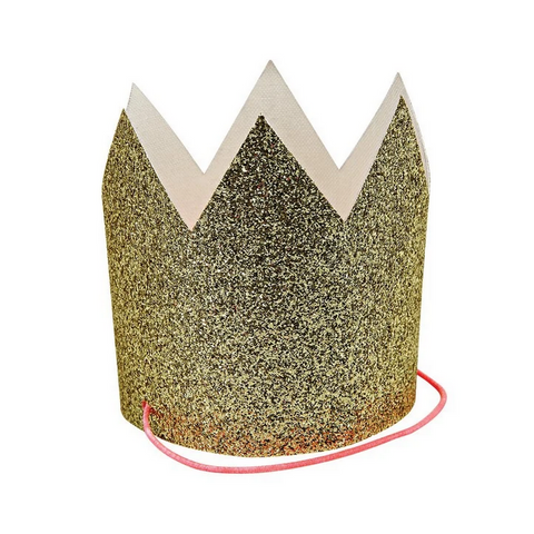 Mini Gold Glittered Crowns (pk8)