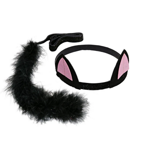 Black Cat Ears and Tail Dress up Kit