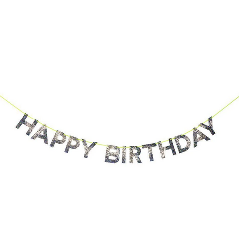 Silver Happy Birthday Garland