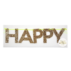 Large Gold Glitter Happy Birthday Banner