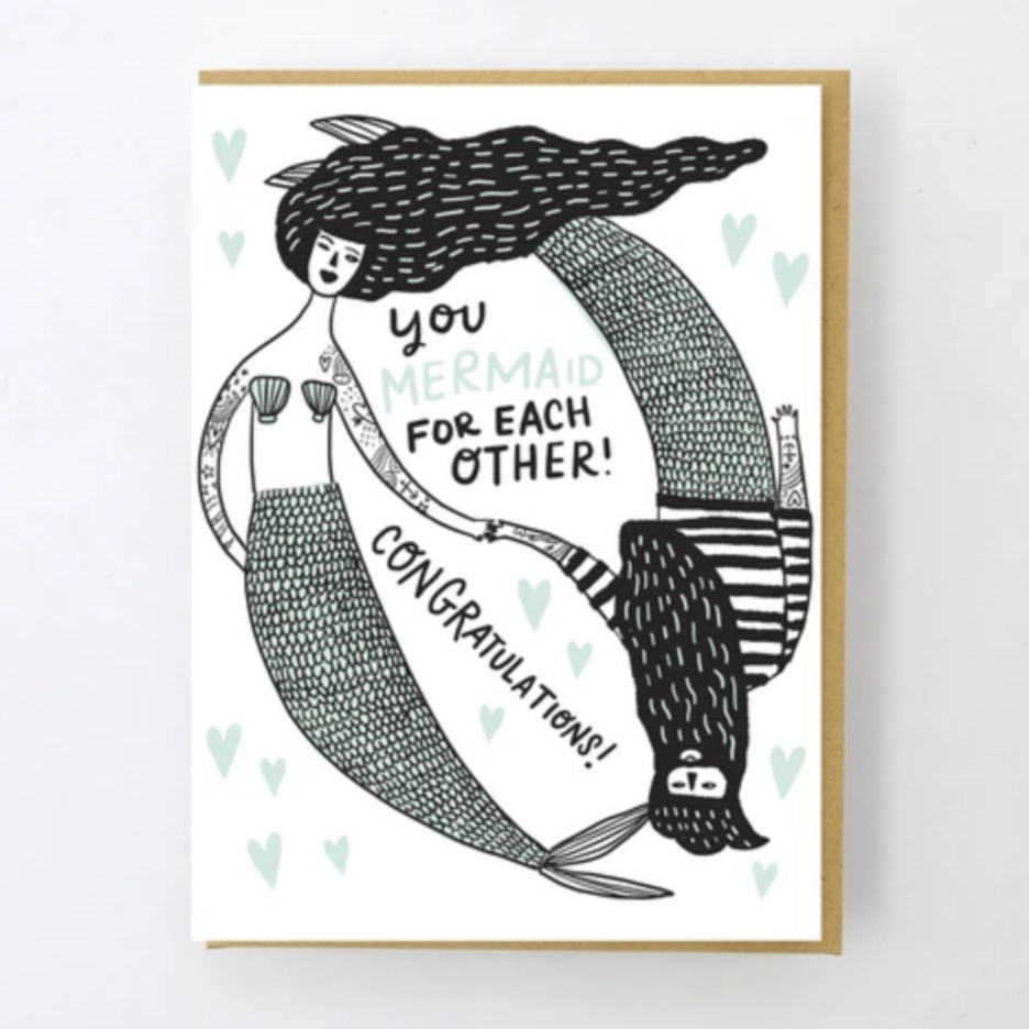 Mermaid For Each Other Card -Wedding