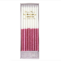 Dark Pink Glitter Dipped Candles