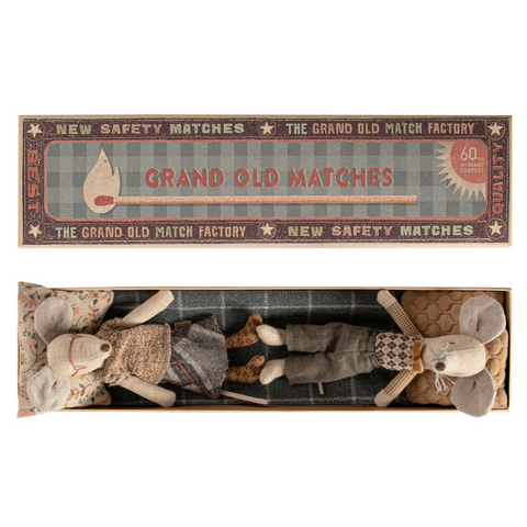 Grandma & Grandpa Mouse in Long Matchbox