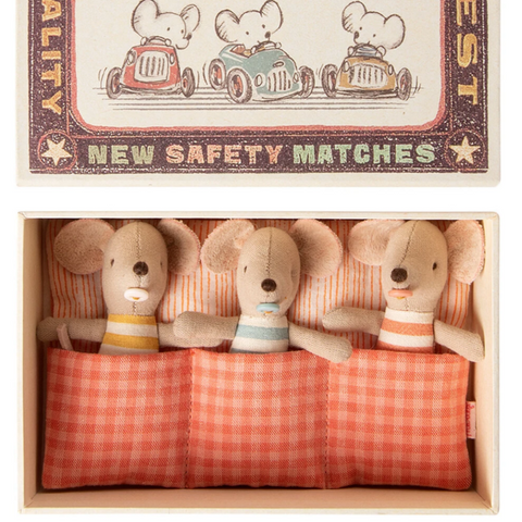 Triplet Baby Mice in Matchbook