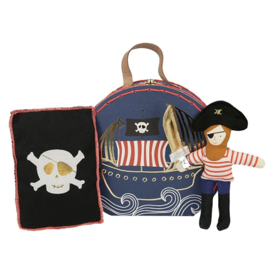 Suitcase With Mini Pirate Doll, Blanket & Sword