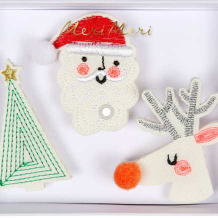 Embroidered Brooches Santa, Reindeer & Tree