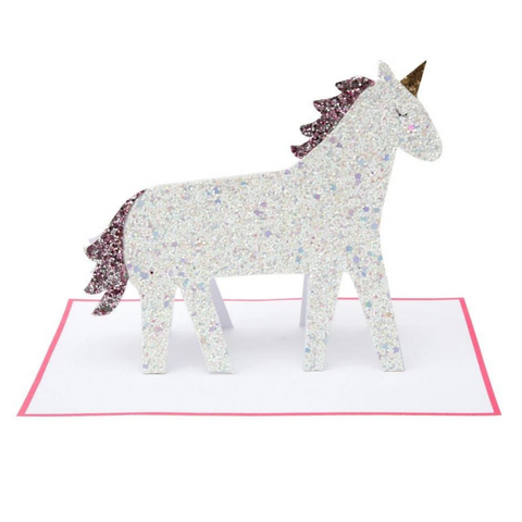 Unicorn Glitter Stand-Up Card -Birthday