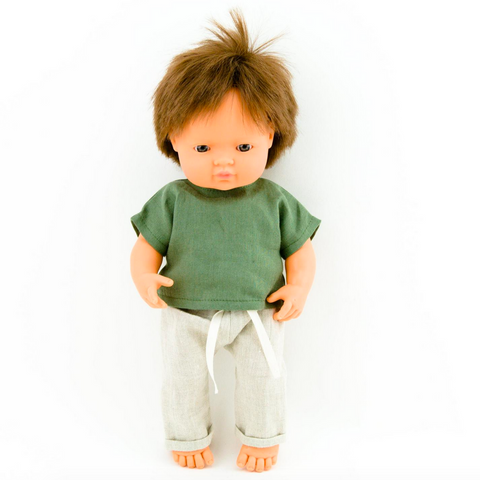 "Linen Pants & Green Linen Shirt: fits 15"" Miniland Dolls"