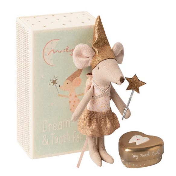 Tooth Fairy Mouse in Matchbox, Big Sister with Toothbox