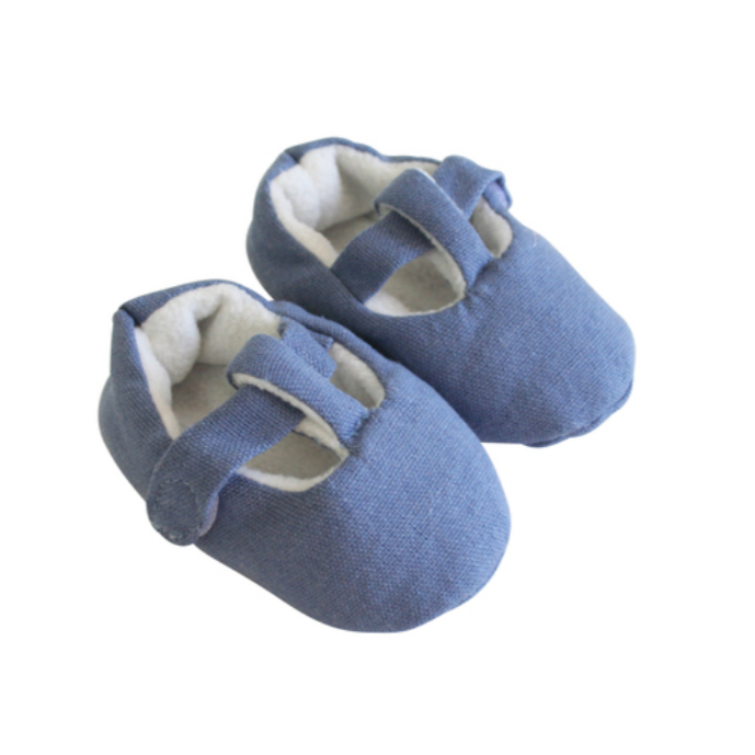 T-Bar Booties -Chambray (3-6mos)