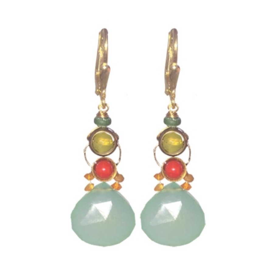Chalcedony, Carnelian and Olive Jade Faceted Earrings