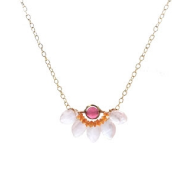 Pink Chalcedony with Faceted Carnelian and Jade Necklace