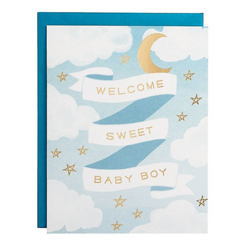 Welcome Baby Boy Gold Foil Card -Baby