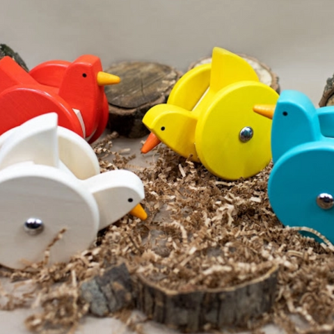 Bajo Wooden Wobbling Chicken (assorted colors) 1yr+