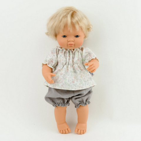 "Linen Grey Bloomers and Pastel Floral Blouse (Two Piece Set): fits 15"" Miniland Doll"