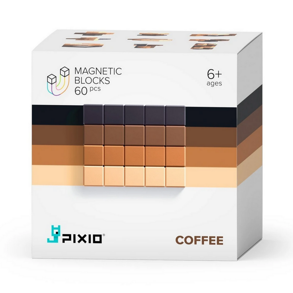 PIXIO Abstract Series COFFEE - 60 Magnetic Blocks in 4 Colors 6yrs+