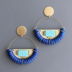 Brass Post Earrings with Magnesite and Glass
