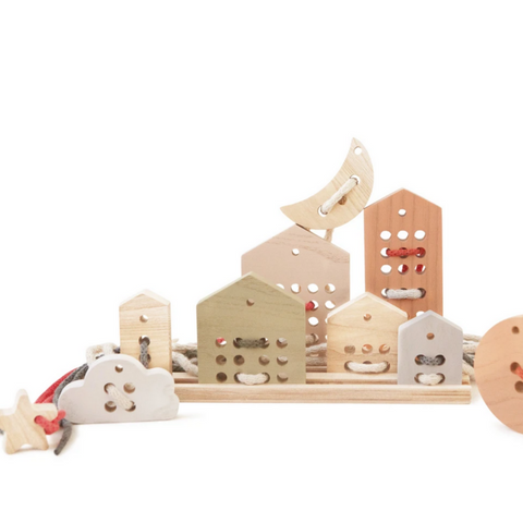 Wooden Lacing Toys Set in Pastel Colors for 3yrs+
