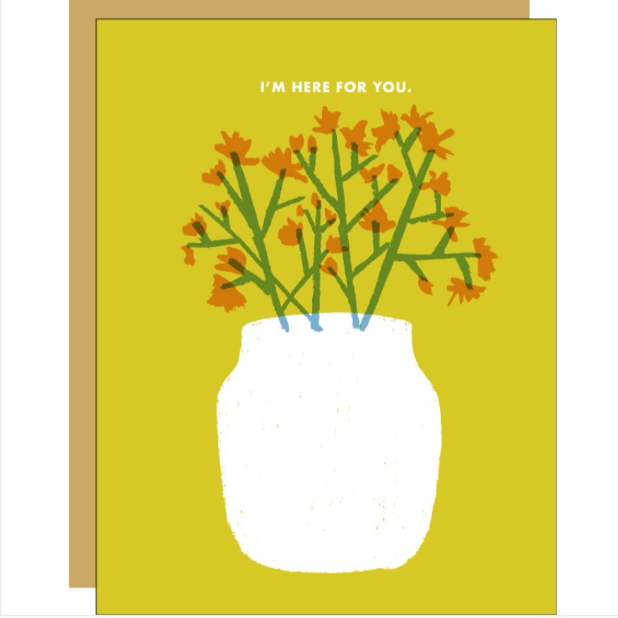 drawing of a vase with flowers on a yellow background