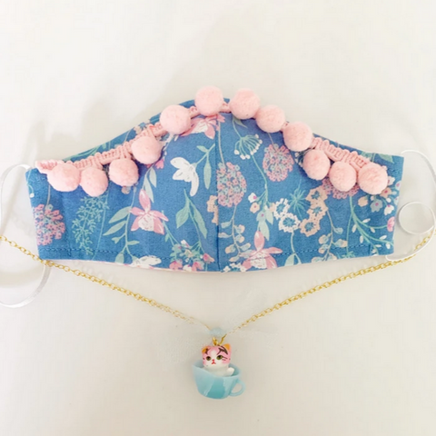 Blue Floral with Pink Pompom's Mask with Kitty Necklace- kid's sm/med/lg