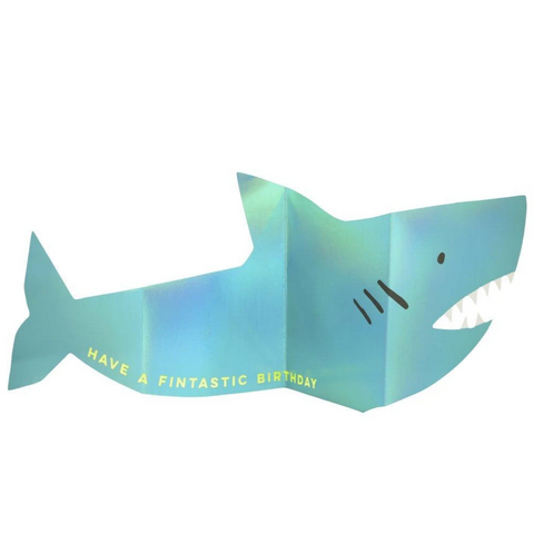 Metallic Shark Concertina Card-Birthday