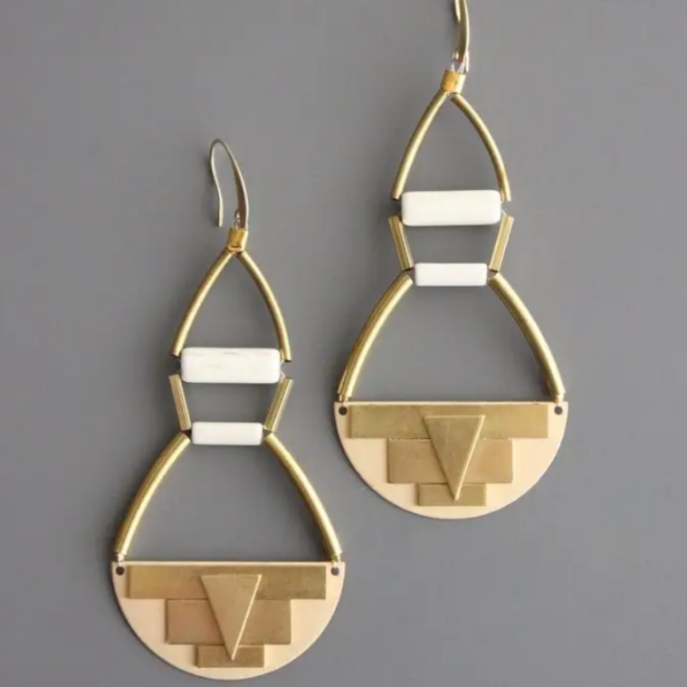 Geometric Brass and Magnesite Earrings
