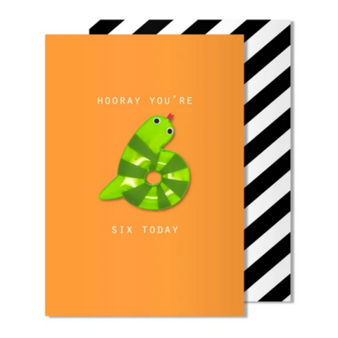 Age 6 Snake Magnet Card -Birthday