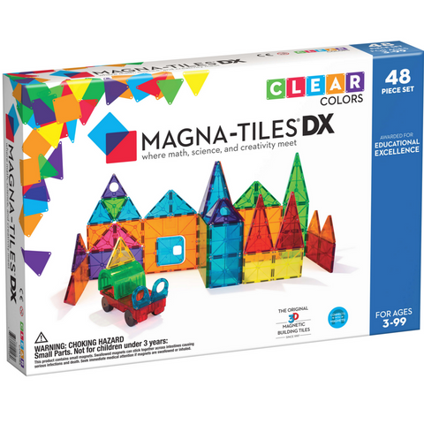 Magna-Tiles Clear Colors 48-Piece Deluxe Set -3yrs+