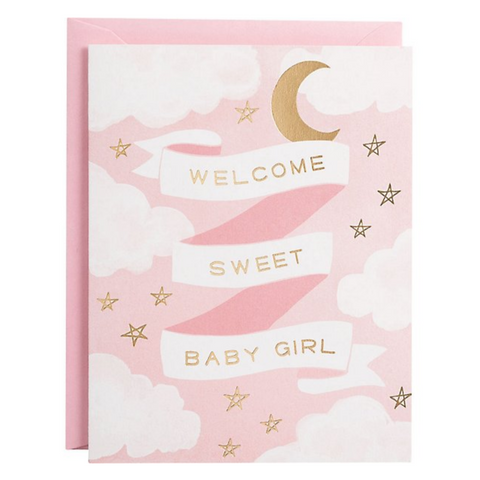 Welcome Baby Girl Gold Foil Card -Baby