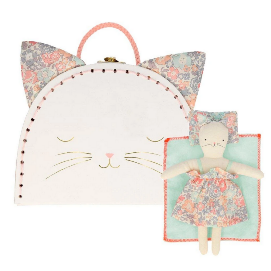 Floral Kitty Mini Suitcase Doll