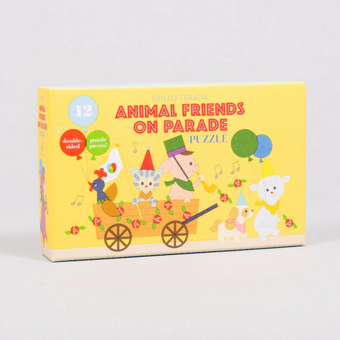 Animal Friends on Parade Puzzle -double sided! -12pcs 2-3yrs