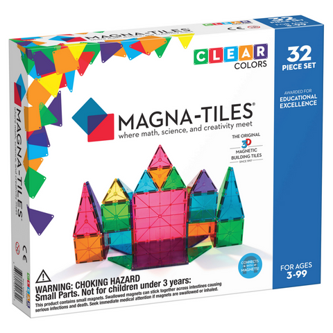 Magna-Tiles Clear Colors 32-Piece Set -3yrs+